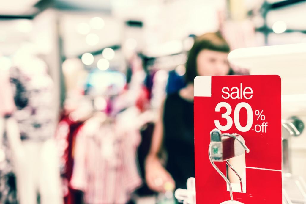 Indoor retail sale signs