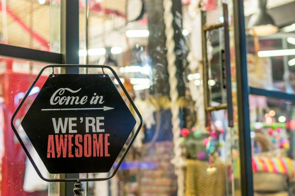 Inviting retail signage